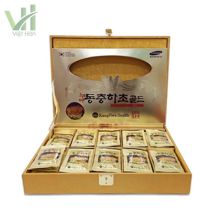 Sản phẩm nước đông trùng hạ thảo Hàn Quốc hộp vàng 60 gói Kwang Hwa