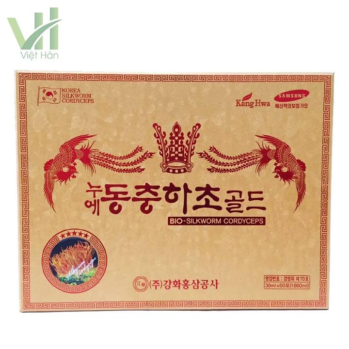 Mặt trước sản phẩm nước đông trùng hạ thảo Hàn Quốc hộp vàng 60 gói Kwang Hwa
