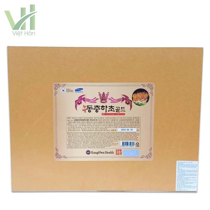 Mặt sau sản phẩm nước đông trùng hạ thảo Hàn Quốc hộp vàng 60 gói Kwang Hwa