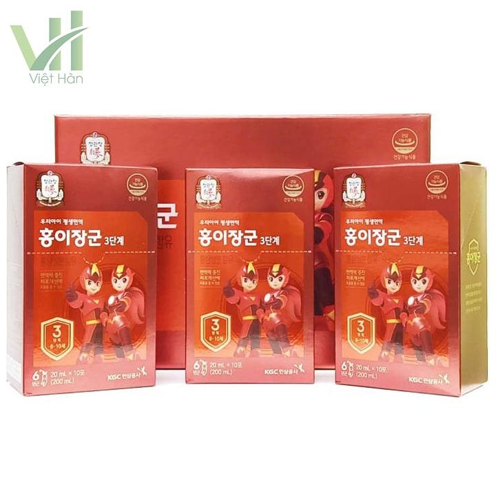 <em>3 hộp nhỏ bên trong sản phẩm nước hồng sâm Baby KGC cho trẻ 8 - 10 tuổi</em>