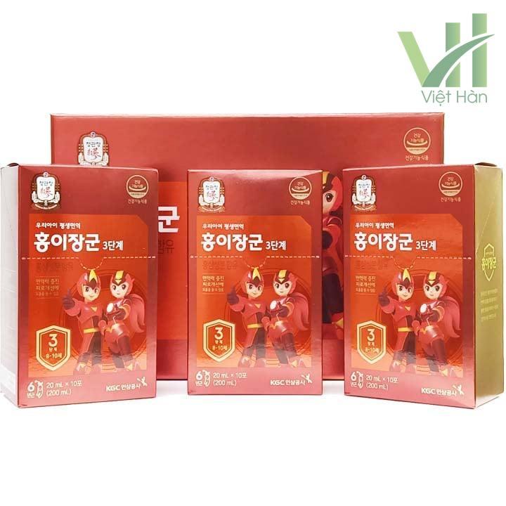 3 hộp nhỏ bên trong sản phẩm nước hồng sâm Baby KGC cho trẻ 8 - 10 tuổi