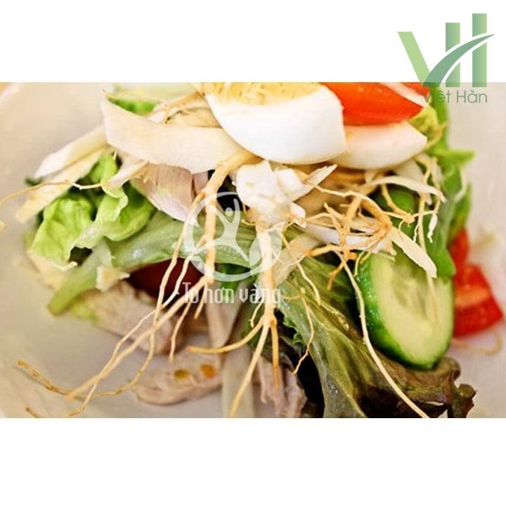 salad nhân sâm sẽ còn đem đến hương vị lạ miệng và kích thích đường tiêu hóa một cách tối ưu