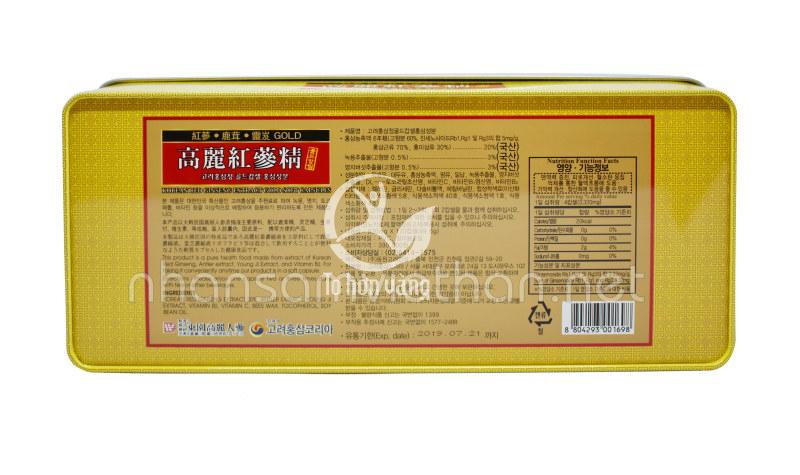 Mặt sau của sản phẩm viên hồng sâm linh chi nhung hươu Kana 120 viên