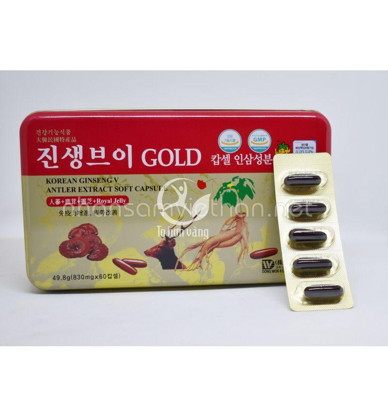 Thành phần viên hồng sâm linh chi nhung hươu bao gồm:Chiết xuất hồng sâm 15%, linh chi 15%, nhung hưu 15 %, dầu đậu nành 20 % và các thảo dược quý.