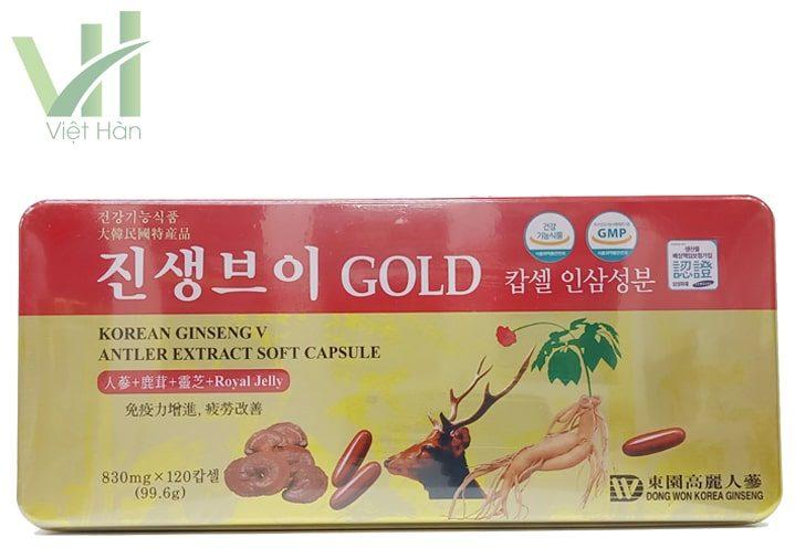 Mặt trước sản phẩm viên hồng sâm linh chi nhung hươu Hàn Quốc 120 viên Dongwon