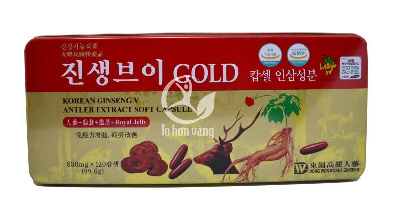 Hình ảnh hộp Viên hồng sâm linh chi nhung hươu Hàn Quốc 120 viên Dongwon