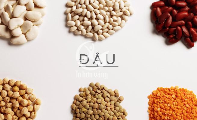 Các loại đậu như đậu đỏ, đậu xanh, đậu nành, đậu hà lan,...tất cả các loại đậu giàu protein, tinh bột, vitamin và các loại axit amin, canxi,...