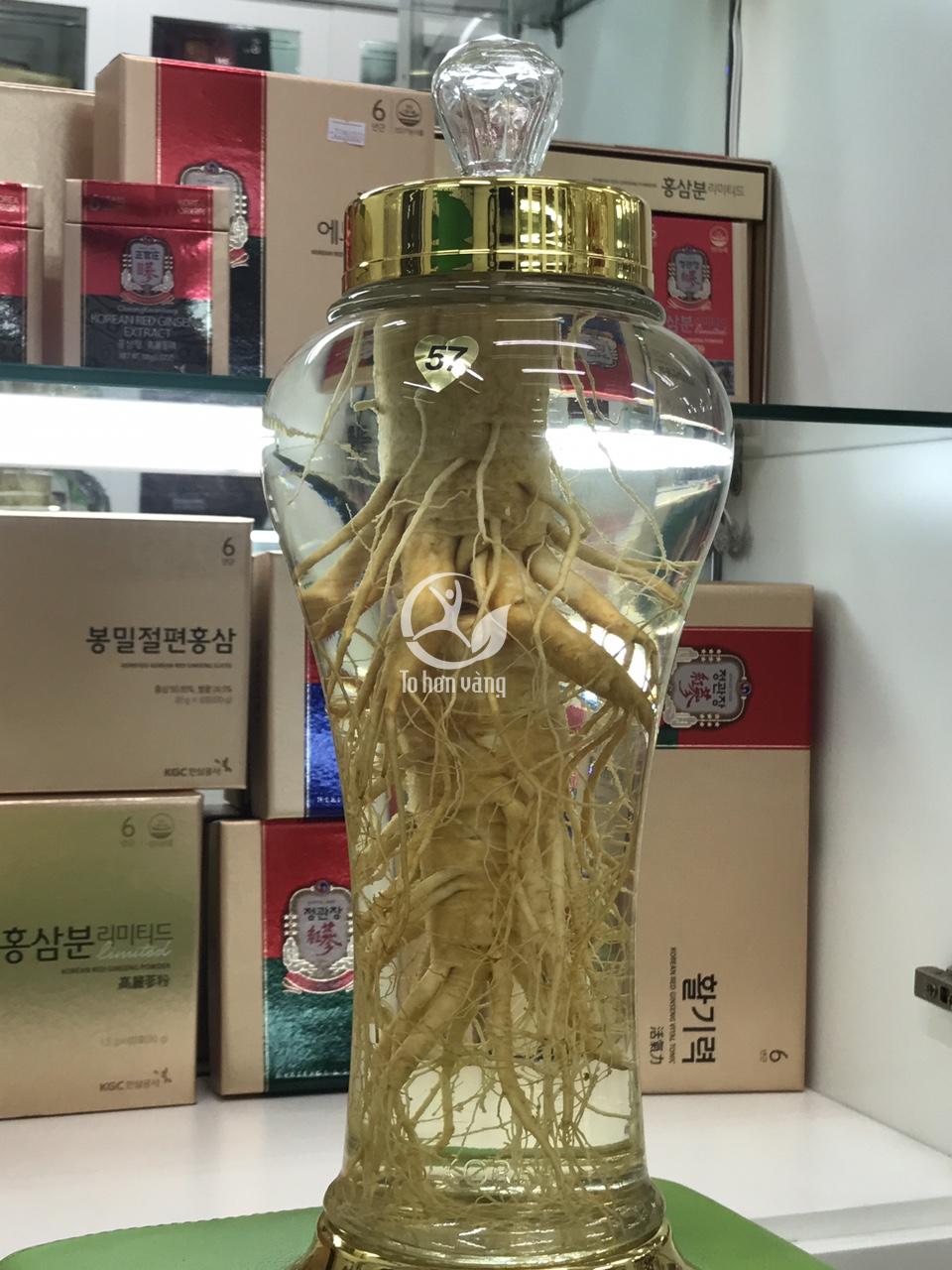 Bình sâm tươi Hàn Quốc 3 lít có mã số 57, có thể tích và kích thước phù hợp với sâm tươi loại 8 củ 1 kg