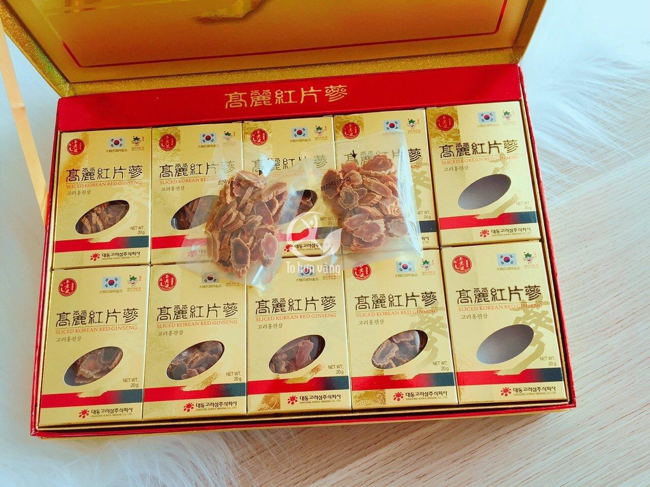 Hồng sâm thái lát Daedong là sản phẩm thuộc thương hiệu sâm Daedong Hàn Quốc, được lựa chọn từ những củ sâm tươi chất lượng nhất, hình dáng đẹp nhất