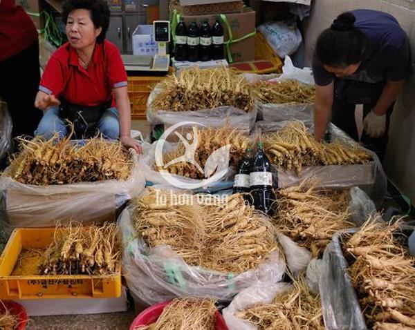 Chợ Geumsan chuyên bán các mặt hàng về sâm tươi, hồng sâm và bạch sâm