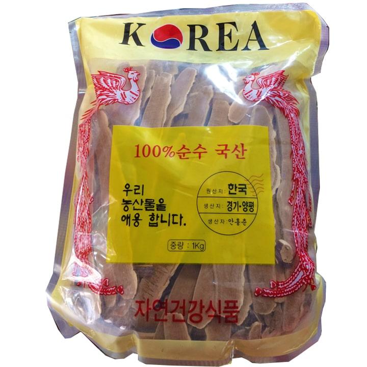 Mặt trước gói sản phẩm Nấm linh chi Hàn Quốc thái lát 1 kg - Nấm linh chi đỏ loại 1