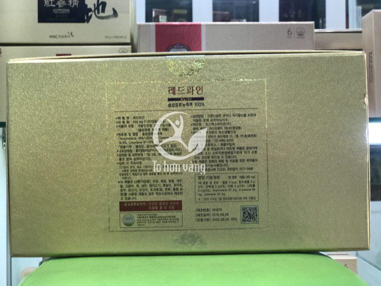 Mặt sau của sản phẩm tinh dầu thông đỏ Dami Hansongwon để phân biệt tránh hàng giả, hàng kém chất lượng