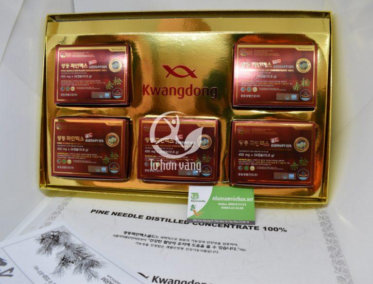 Hộp tinh dầu thông đỏ Kwang Dong gồm 120 viên, mỗi ngày sử dụng 2 viên. Như vậy, mỗi hộp thời gian sử dụng lên đến 2 tháng
