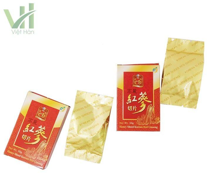 Hộp nhỏ bên trong sản phẩm hồng sâm lát tẩm mật ong Sambok Hàn Quốc