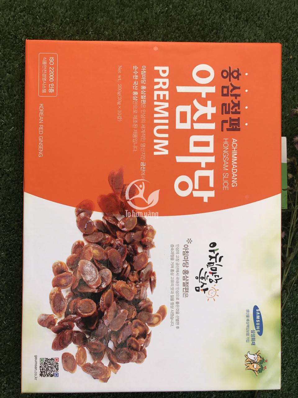 Hồng sâm thái lát tẩm mật ong Achimadang là cách chế biến sản phẩm từ sâm vừa tăng giá trị dinh dưỡng vừa thuận tiện trong việc sử dụng