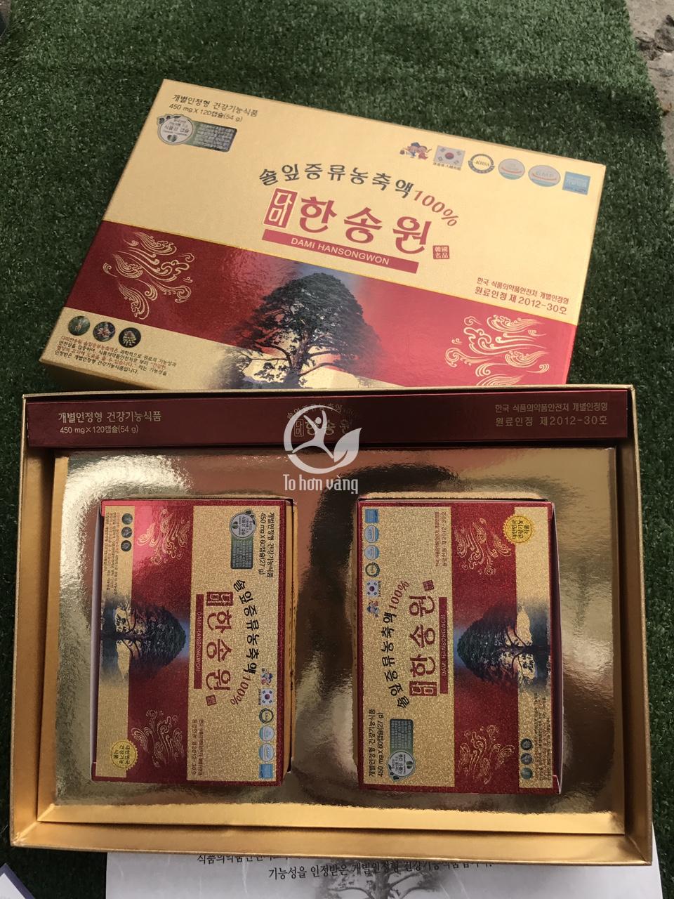 Hình ảnh bên trong sản phẩm tinh dầu thông đỏ Dami Hansongwon