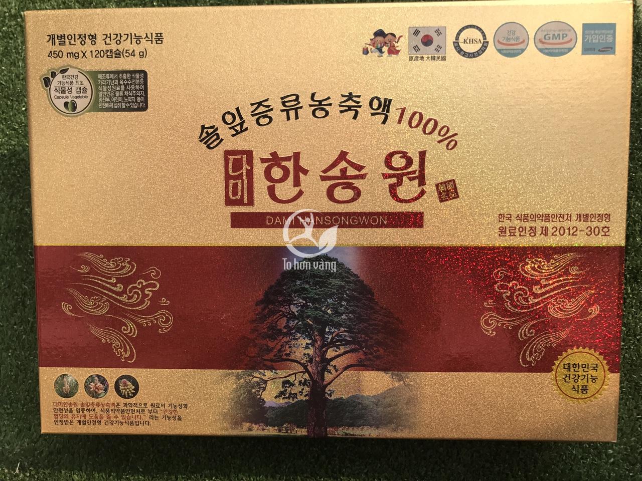 Tinh dầu thông đỏ Dami Hansongwon 120 viên - Sản phẩm cao cấp được bán tại trung trâm nghiên cứu tinh dầu thông đỏ của Chính phủ Hàn Quốc