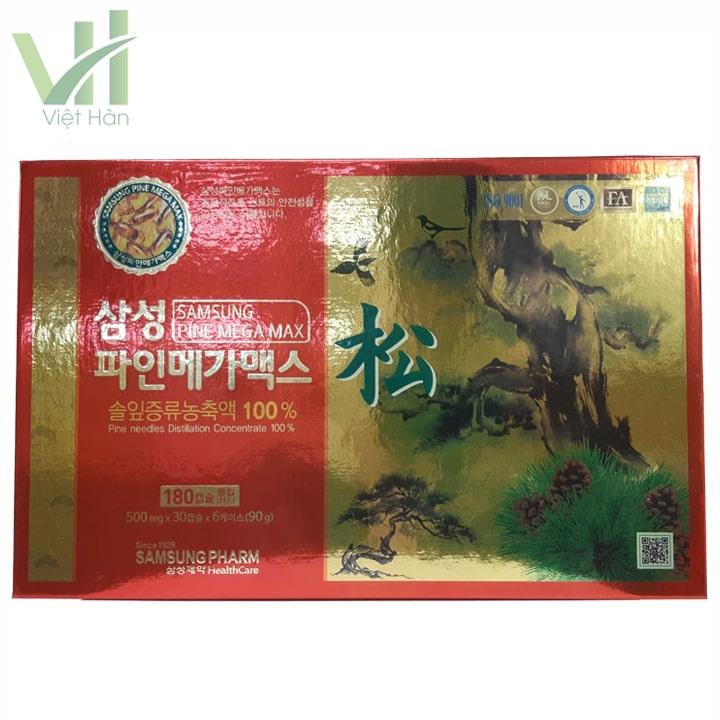 Mặt trước sản phẩm viên tinh dầu thông đỏ Samsung Pine Mega Max 180 viên Hàn Quốc