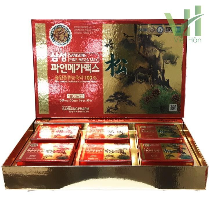 Sản phẩm viên tinh dầu thông đỏ Samsung Pine Mega Max 180 viên Hàn Quốc