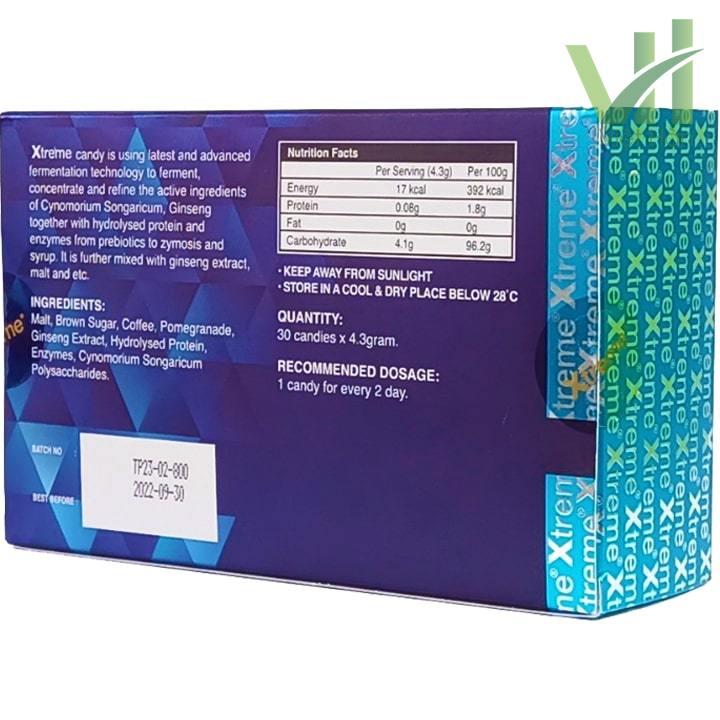 Góc sản phẩm kẹo sâm Xtreme dành cho phái mạnh - 1 hộp 30 viên