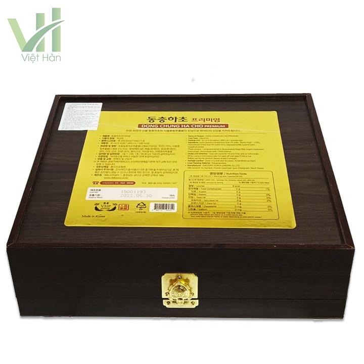 Mặt sau Nước Đông Trùng Hạ Thảo hộp gỗ đen 30ml x 60 gói