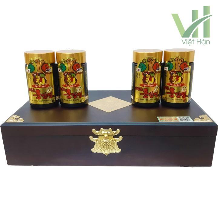 Sản phẩm cao hồng sâm Kanghwa Hàn Quốc 250 gram x 4 lọ hộp gỗ