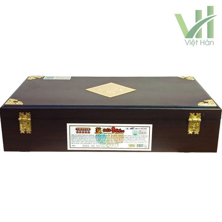 Mặt sau sản phẩm cao hồng sâm Kanghwa Hàn Quốc 250 gram x 4 lọ hộp gỗ