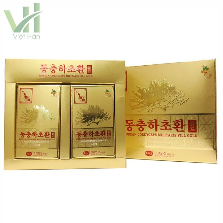 Bên trong hộp sản phẩm Viên Đông Trùng Hạ Thảo Hàn Quốc 100g x 2 lọ thương hiệu KGS