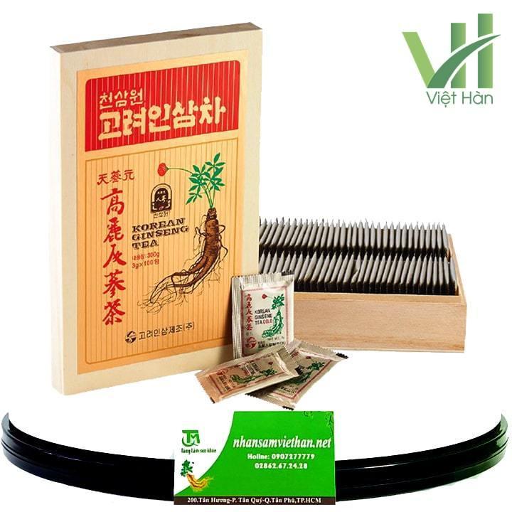 Trà hồng sâm hộp gỗ Hàn Quốc 100 gói