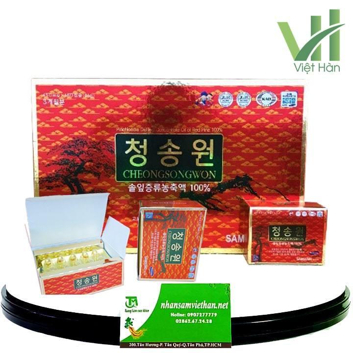Hình ảnh: Viên tinh dầu thông đỏ Cheong Song Won 180 viên hộp đỏ