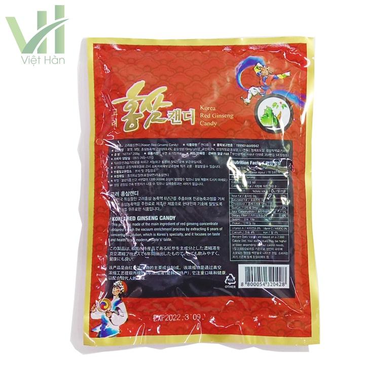 Mặt sau sản phẩm kẹo hồng sâm Hàn Quốc F&B nhập khẩu từ Hàn Quốc