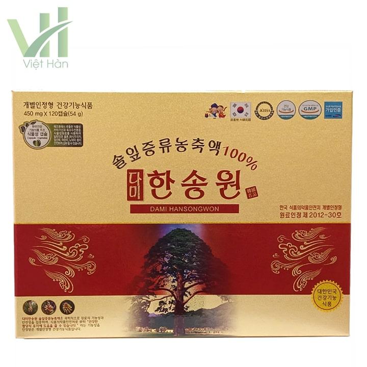 Mặt trước sản phẩm tinh dầu thông đỏ Dami Hansongwon 120 viên
