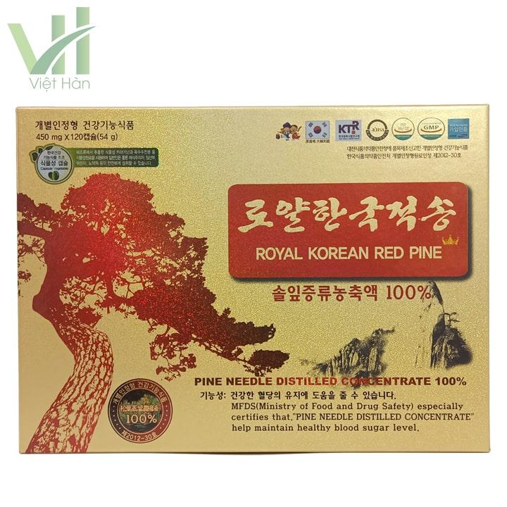 Mặt trước hộp tinh dầu thông đỏ chính phủ mẫu mới