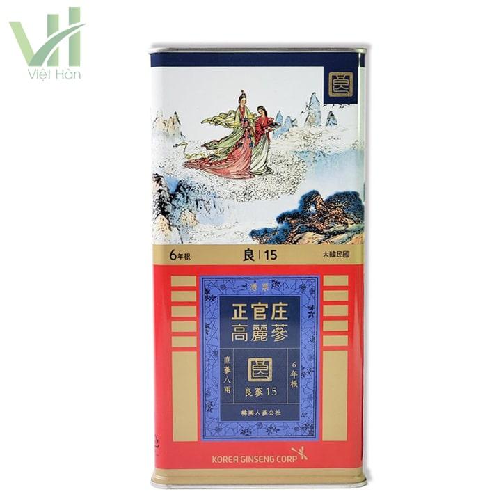 Mặt sau Hồng sâm khô hộp thiếc 300 gram số 15 PCS 10 củ Hàn Quốc