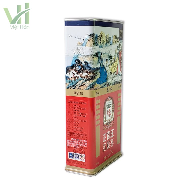 Hồng sâm khô hộp thiếc 300 gram số 15 PCS 10 củ Hàn Quốc hỗ trợ tăng cường sức khỏe hiệu quả