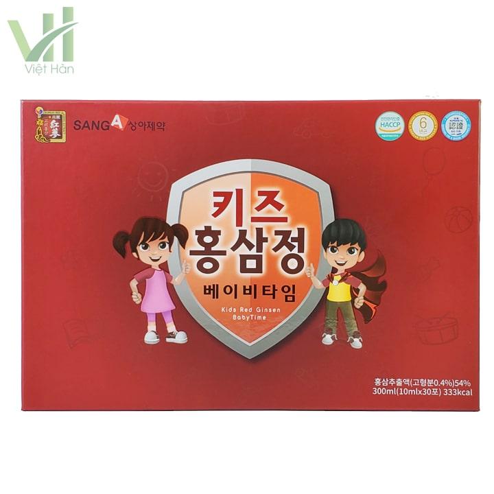 Mặt sau của hộp nước hồng sâm baby SangA Hàn Quốc