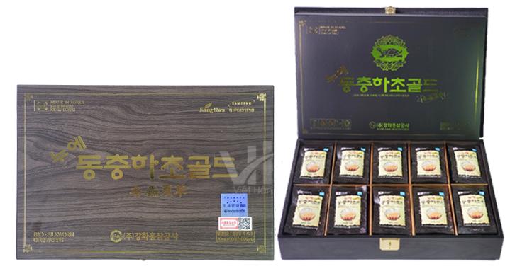 Hình ảnh: Nước Đông Trùng Hạ Thảo Hàn Quốc Kanghwa hộp gỗ đen 30ml x 60 gói